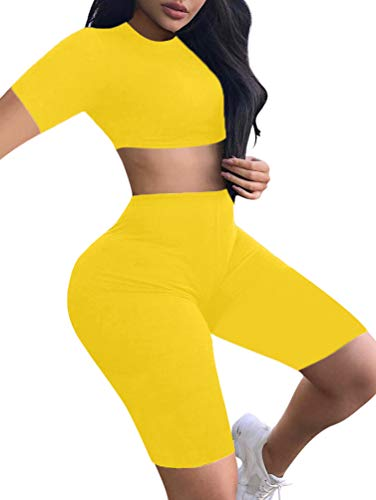 BEAGIMEG Women's Sexy 2 Piece Outfit Crop Top Bodycon High Waist Shorts ()