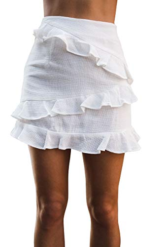 YNC Fashion Women's Summer Casual Polka Dot Flare Short Mini A Line Skirt (L, White)