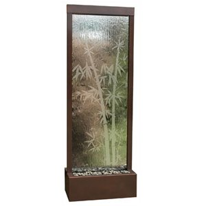 (Bluworld Gardenfall Fountain 90in x 32in Dark Copper w/Bamboo Etched Glass|GF83B)