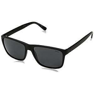 Polo Ralph Lauren Men's Injected Man Rectangular Sunglasses, Matte Black, 57 mm
