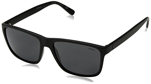 Polo Ralph Lauren Men's Injected Man Rectangular Sunglasses, Matte Black, 57 mm (Polo Ralph Lauren Sunglasses)