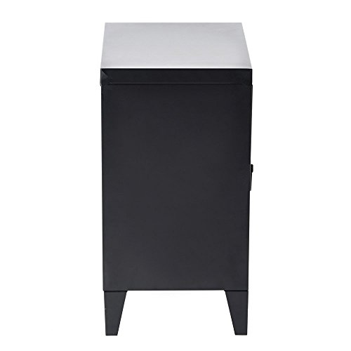 HomyCasa   Metal Locker Side Sofa/Couch End Table   Bedside Night Stand   Accent Safe Home Accessory Display Mini Bookcase with Hidden Shelves Organizer and Storage (Black) by HOMY CASA (Image #6)