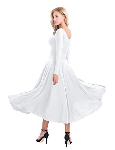 Robe Tango de Robe Latine Justaucorps Danse Blanc Salsa Lotard Gym Classique de Rumba de Robe Femme 2XL S longue Maxi Zumba manches Freebily Ballet Combinaison wAaEnC14xq