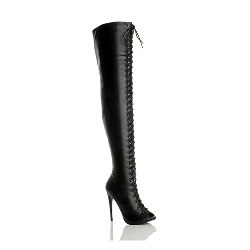 Womens Size Zip Ajvani Stiletto Thigh Club Boots Over The high Knee Lace up Heel Black Ladies Matte dy00gqr6