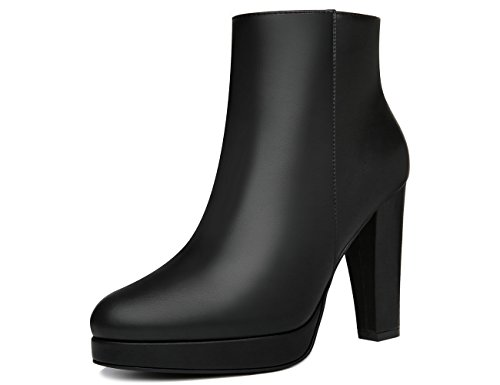 Warm 10B Heel Size 6 Linning Booties Side High Sued MOLECOLE Zipper Faux black Leahter Boots Women's Ankle Ankle xnwn0ZOvq