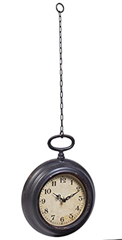 Vintage Pocket Watch Inspired Non-Ticking Wall Clock With Chain, Round - Small (Vintage Style Pocket Watch)