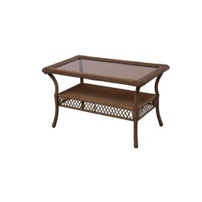 Spring Haven Brown All-Weather Wicker Patio Coffee Table For Sale