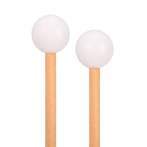 Sound Percussion Sticks (Shappy Bell Mallets Glockenspiel Sticks, Rubber Mallet Percussion with Wood Handle, 15 Inch Long (White))