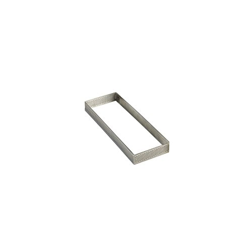 Pavoni Microperforated Stainless Steel Rectangular Tart Ring 2.76''  x 7.48'' x 0.79'' High by Pavoni