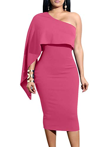 GOBLES Women's Summer Sexy One Shoulder Ruffle Bodycon Midi Cocktail Dress Rose