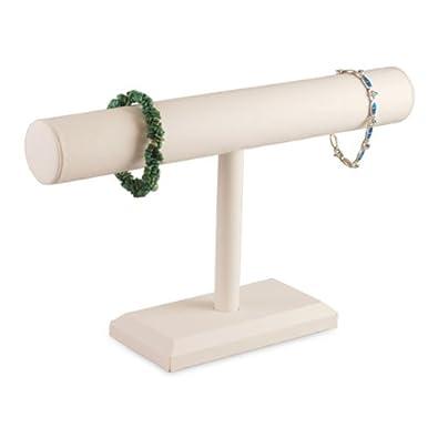 "White Faux Leather Bracelet Watch T-Bar 12""W Jewelry Display Stand Rack"