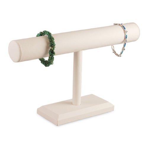 White Faux Leather Bracelet Watch T-Bar 12''W Jewelry Display Stand Rack