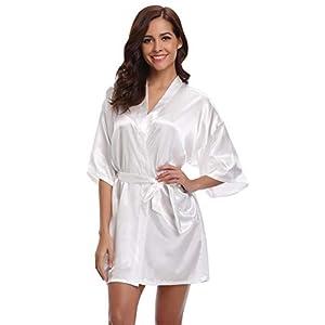 Aibrou Donna Pigiama Kimono, Scollo V Elegante Vestaglia Corta in Raso, Camicia da Notte con Cintura