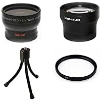 Wide Lens + Tele + UV +Tripod for Panasonic DMC-GM1 DMC-GM1K, Panasonic DMC-GM1KD DMC-GM1KS