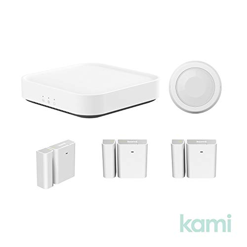 Kami Smart Security Starter Kit with Base Station, Wireless Window and Door Entry Sensor, PIR Human or Pet Detection Sensor for Home Office Business Burglar Alerts Through Kami App