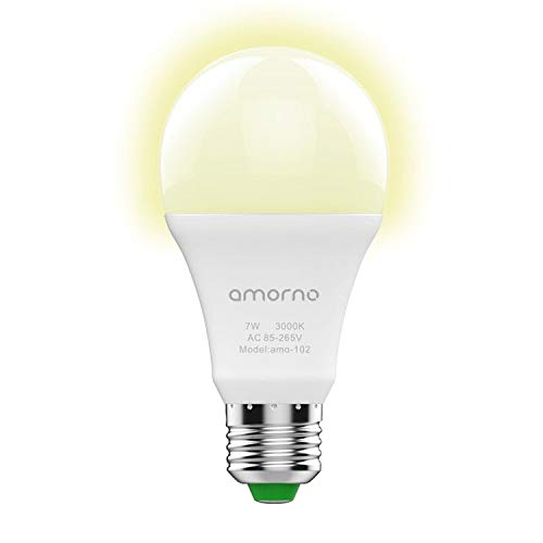 Dusk to Dawn Light Bulbs,AMORNO 7W E26/E27 Smart Sensor Light Bulb with Auto on/Off, Indoor/Outdoor LED Lighting Lamp for Porch, Hallway, Patio, Garage,Hallway(Warm White)