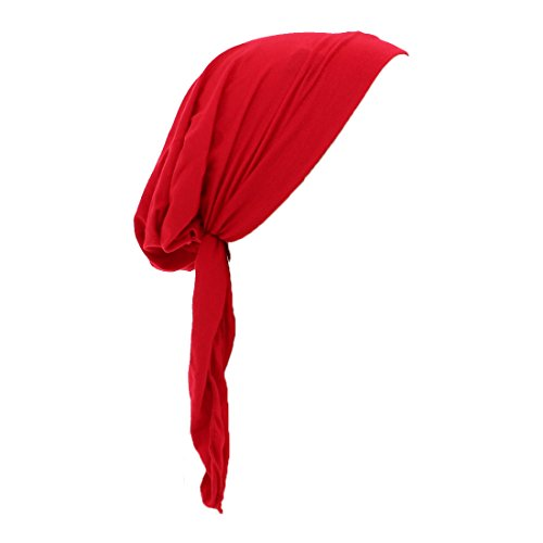 Denim Bandana - Womens Pre Tied Bandana Chemo Cap Soft Cancer Scarf Hair Cover (Red)