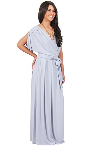 b321de9cd99 KOH KOH Womens Long Formal Short Sleeve Cocktail Flowy V-Neck ...