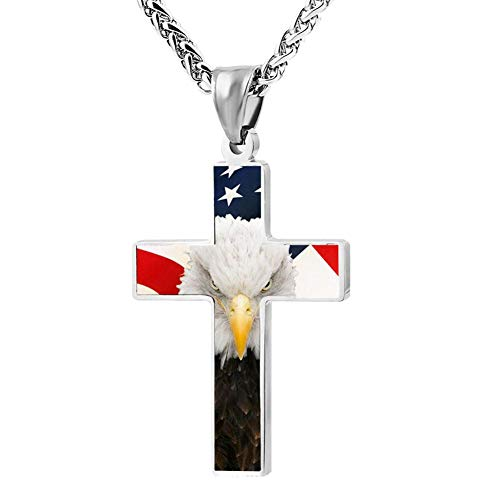 OpsiBuiy1 American Flag Eagle Zinc Alloy Chain Cross Necklace Pendant Fans Religious Jewelry -