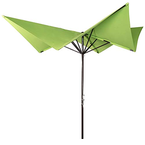 Sundale Outdoor 8.5 x 8.5 Ft Aluminum Market Umbrella with Hand Push for Patio, Garden, Deck, Backyard, Pool, Green Butterfly Shape, No Tilt