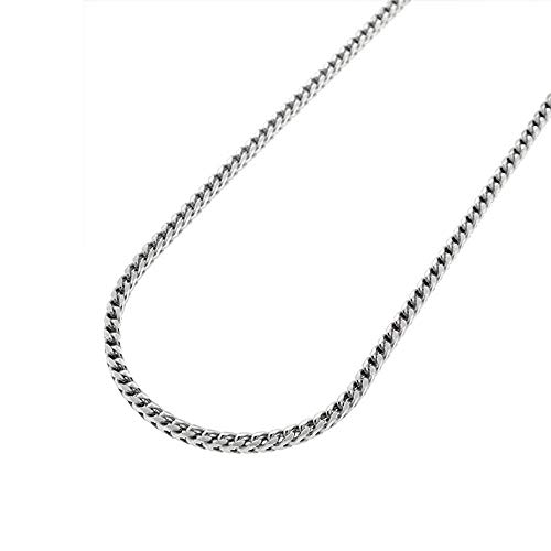 Verona Jewelers Sterling Silver 1.5MM and 2MM Solid Franco Square Box Link 925 Rhodium Necklace Chain (20, - Square Solid Link