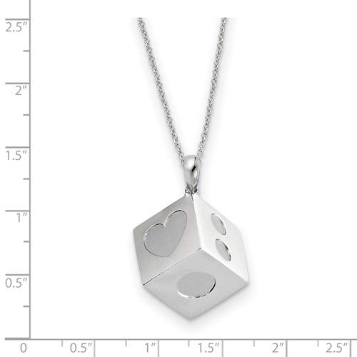 18 Lucky As Can Be 3-D Pendant Necklace 25x24MM Rhodium-Plated Sterling Silver