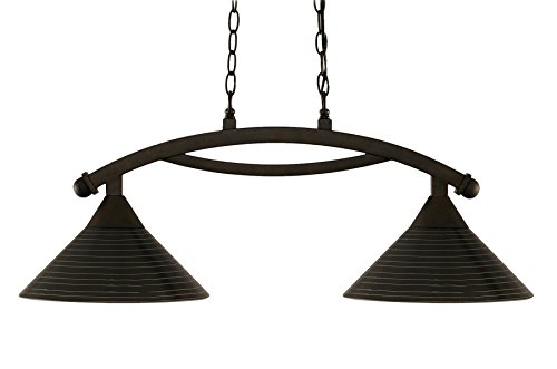 Toltec Lighting 872-BRZ-442 Bow 2 Light Island Light with 12