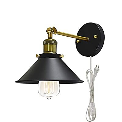 STGLIGHTING Metal Wall Sconce 1 Light Fixture E26 UL Transparent Plug-in Button Switch Cord Lighting Vintage Industrial Loft Style Wall Lamp for Bathroom Dining Room Kitchen Bedroom Bulbs Included