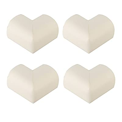4 Pieces Corner Guard Home Furniture Safety Bumper Foam Toddler Baby Proof Table Protector Pad Childproof Fireplace Guard- Beige