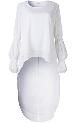 Casual White Women's Neck Irregular Shirt High Dress Lotus Leaf Lantern Long Low Hem Angashion Round Sleeve Z5dqaHna