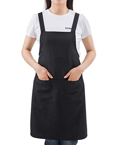 (SEW UR LIFE (2SET) Black Professional Resist Water Bib H Longer Apron with 3 Pockets for Cooking Chef Baker Servers Craft)