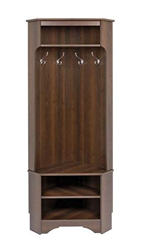 Amazon.com: Hall Trees with Bench and Coat Racks - Corner Tree Rich Espresso Wood with Four Hooks and Shelves - Organizing Your Space with Sophistication: ...
