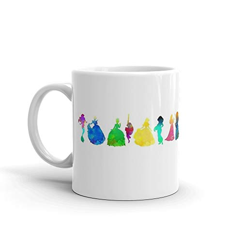 (14 Princesses Inspired Silhouette. 11 Oz Ceramic Coffee Mugs With C-shape Handle, Comfortable To Hold. 11 Oz Fine Ceramic Mug With Flawless Glaze Finish)