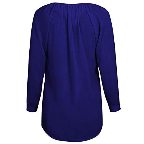 Bouton Col V Soie Chemise Manches Blouse Dames Bleu Décontractée Longues De Femmes En Roiper À Mousseline EwAP8Iwq
