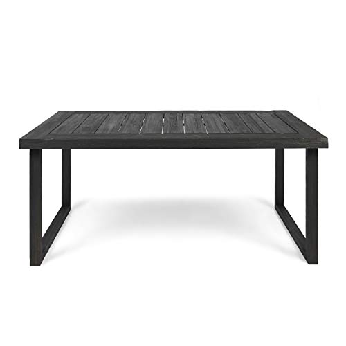 Christopher Knight Home Ann Outdoor 69″ Acacia Wood Dining Table, Sandblast Dark Gray Finish
