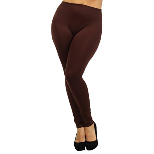 Women's Plus Size Basic Leggings 1X/2X Brown