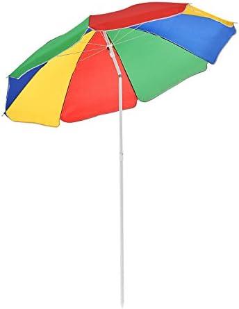 FineHome - Sombrilla de jardín, redonda, colores del arcoíris, altura regulable, diámetro de 180 cm, incluye bolsa: Amazon.es: Jardín