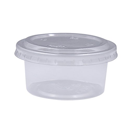 Zicome Plastic Disposable Portion Cups Souffle Cup with Lids, 3-Ounce, 100-Pack