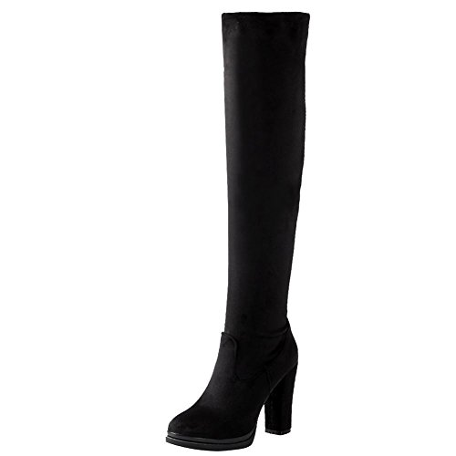 Women's high Boots Nubuck Shine Charm Knee Black Western heel High Show xg5zwa0q