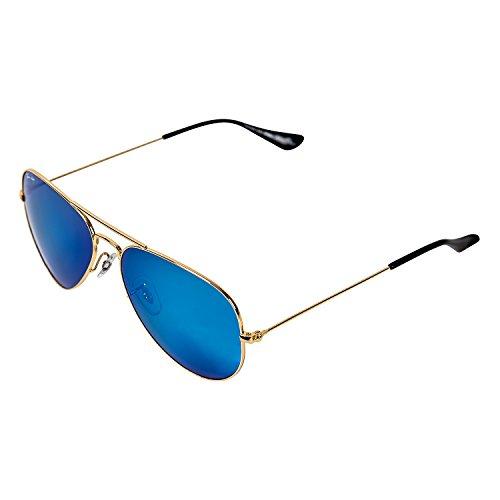 Thomas Rhodes Aviator Sunglasses TR1000 Shiny Gold Metal Frame Glass 58mm Lens (Shiny Gold, Flash - Logo Sunglasses Company