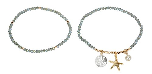 SPUNKYsoul Anklets Starfish Sand Dollar for Women Collection (Gray Green Facteted)