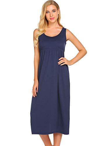 Ekouaer Women's Sleepwear Sleeveless Nightgown Maxi Empire Waist Layered Tank Slip Dress S-XXL Navy Blue