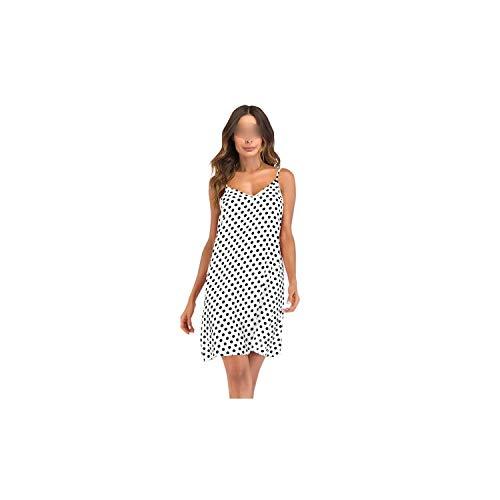Women Dress Polka Dot Print Dress V Neck Sleeveless Tie Strap Backless Casual Mini Sundress,White,XXL Baker Polka Dots Tie