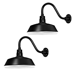 Farmhouse Wall Sconces 14in. Satin Black Outdoor Gooseneck Barn Light Fixture with 14.5 in. Long Extension Arm – Wall Sconce Farmhouse, Antique… farmhouse wall sconces
