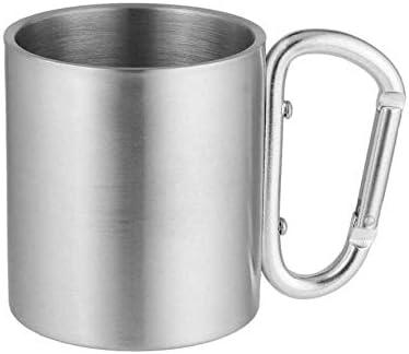 TUOLUO Outdoor Edelstahl Wasser Tee Kaffeetasse Selbstsichernde Karabinergriff Tasse Camping Camping Camping Bergsteigen Tragbaren Falltransport 180ml/rostfreier Stahl