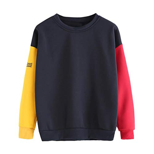 Polyester Appliques Red Heart (Kimloog Women's Crew-neck Color Block Sweatshirt Long Sleeve Patchwork Loose Pullover (M, Red))