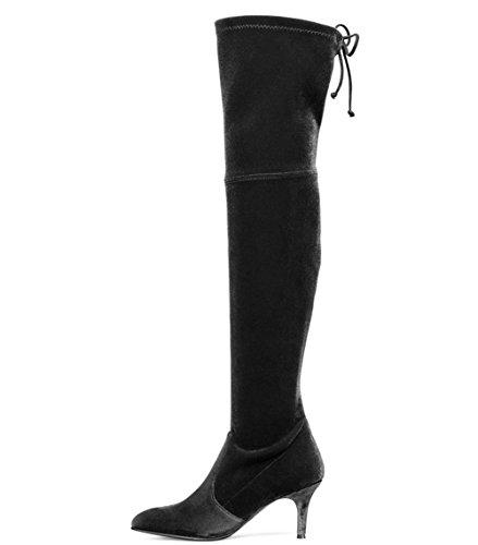 Lange Dijbeenlaarzen, Stiletto-middelhoge Hakken Over De Knie Laarzen Spitse Teen Elastische Dij Hoge Kniehoge Laarzen Zwart-velours-6.5cm