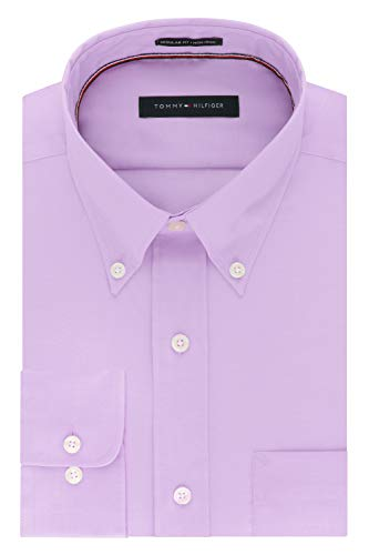 (Tommy Hilfiger Mens Non Iron Regular Fit Solid Button Down Collar Dress Shirt, Frosted Lilac 18.5