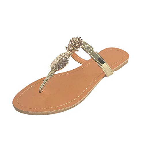 MONOBLANKS Women's Flat Thong Sandals with Gold Pineapples Metallic Straps,Classic Casual Flip-Flops Design Slipper (10)