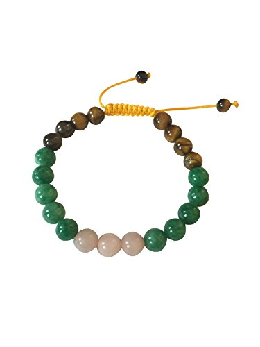 Tibetan Mala Tiger Eye Wrist Mala/bracelet for Meditation (Green jade with Rose quartz)